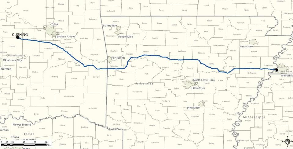 Planned Diamond Pipeline Route ( Diamond Pipeline LLC )