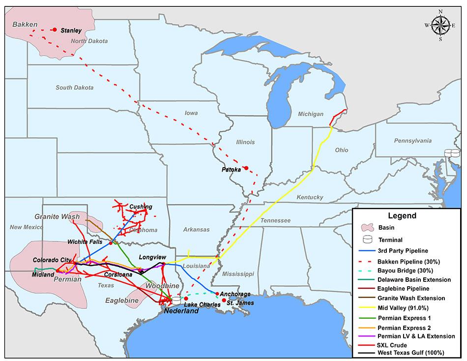 Sunoco Logistics Crude Oil Segment Map ( Sunoco Logistics )