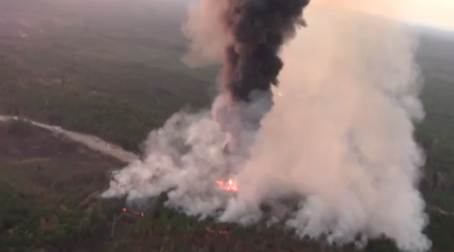 A still shot from CNBC video footage of the fire caused by a gasoline pipeline explosion outside of Helena, Alabama in western Shelby County on October 31, 2016 (  CNBC News  )