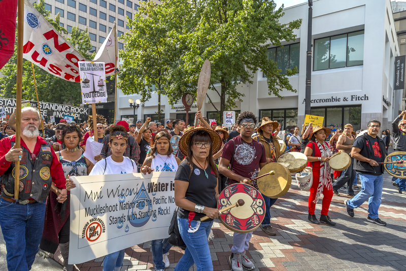 September 16, 2016 - Drummers and other Indigenous activists march in solidarity with the people of the Standing Rock Sioux in their fight against the Dakota Access Pipeline. By John Duffy [CC BY 2.0 (http://creativecommons.org/licenses/by/2.0)], via Wikimedia Commons