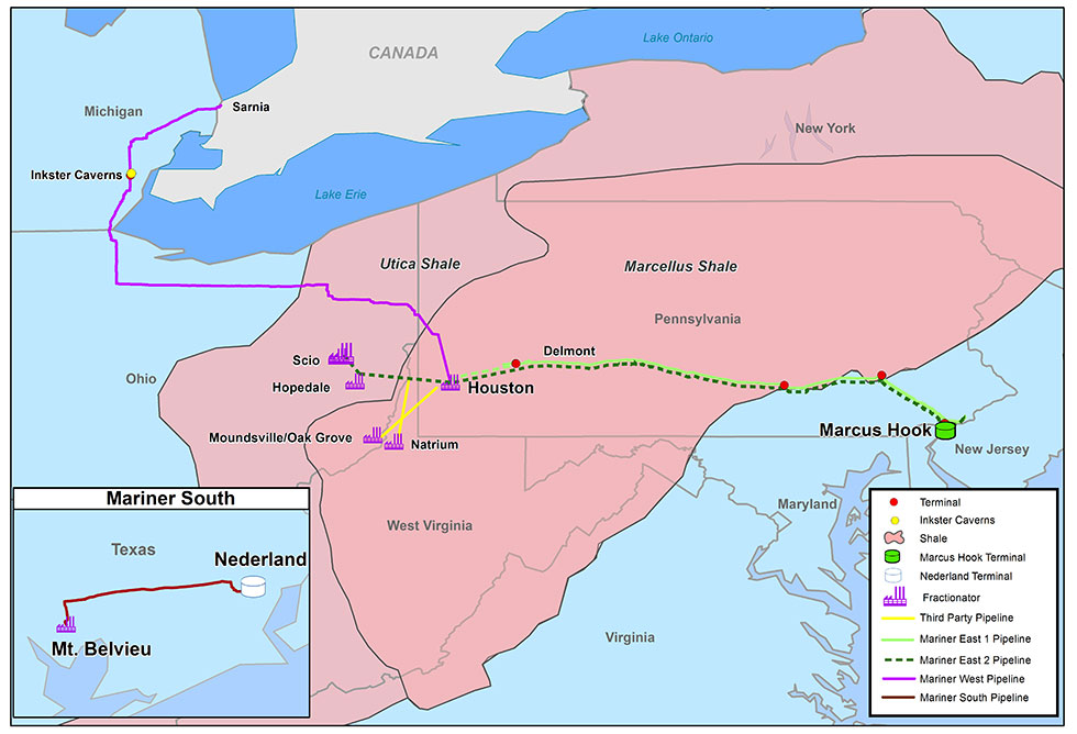 Map shows proposed route for Mariner East 2 Pipeline (Sunoco Logistics Partners)