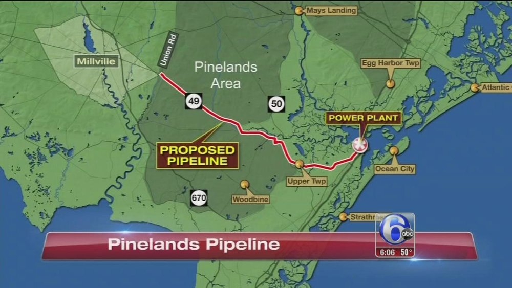 Proposed pipeline route for South Jersey Gas' natural gas pipeline through the Pinelands ( 6ABC )