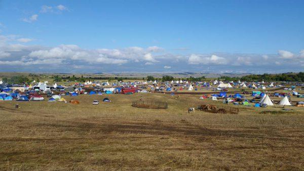 September 16, 2016 - Dakota Access oil pipeline protest site on federal land near Lake Oahe in North Dakota ( Native News Online )