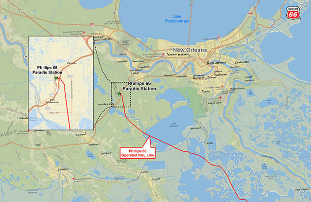 Map of Paradis Station and NGL pipeline ( Phillips 66 )