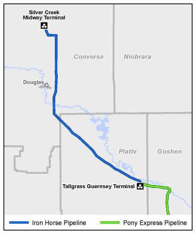 The above map depicts the planned Iron Horse Pipeline and associated Silver Creek and Tallgrass infrastructure. Note: The Silver Creek Midway Terminal, Iron Horse Pipeline, and Tallgrass Guernsey Terminal are under construction. (Graphic: Business Wire)