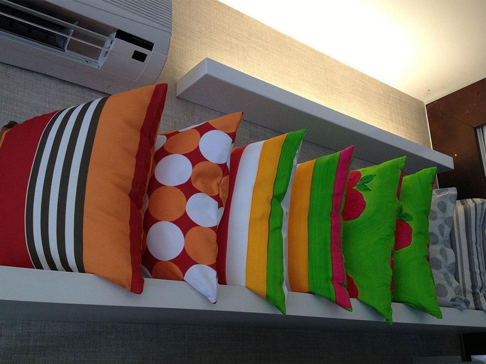 Almofadas e colchas