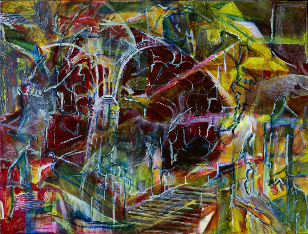 "Piranesi's Labyrinthine Glioma, 31"" x 23"" Oil and mixed media on canvas."