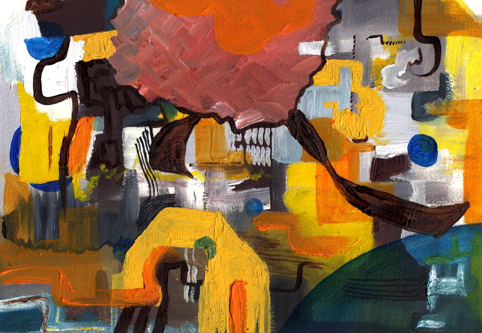 "Sibizleyteeth, Oil on canvas paper, 9"" x 6"""
