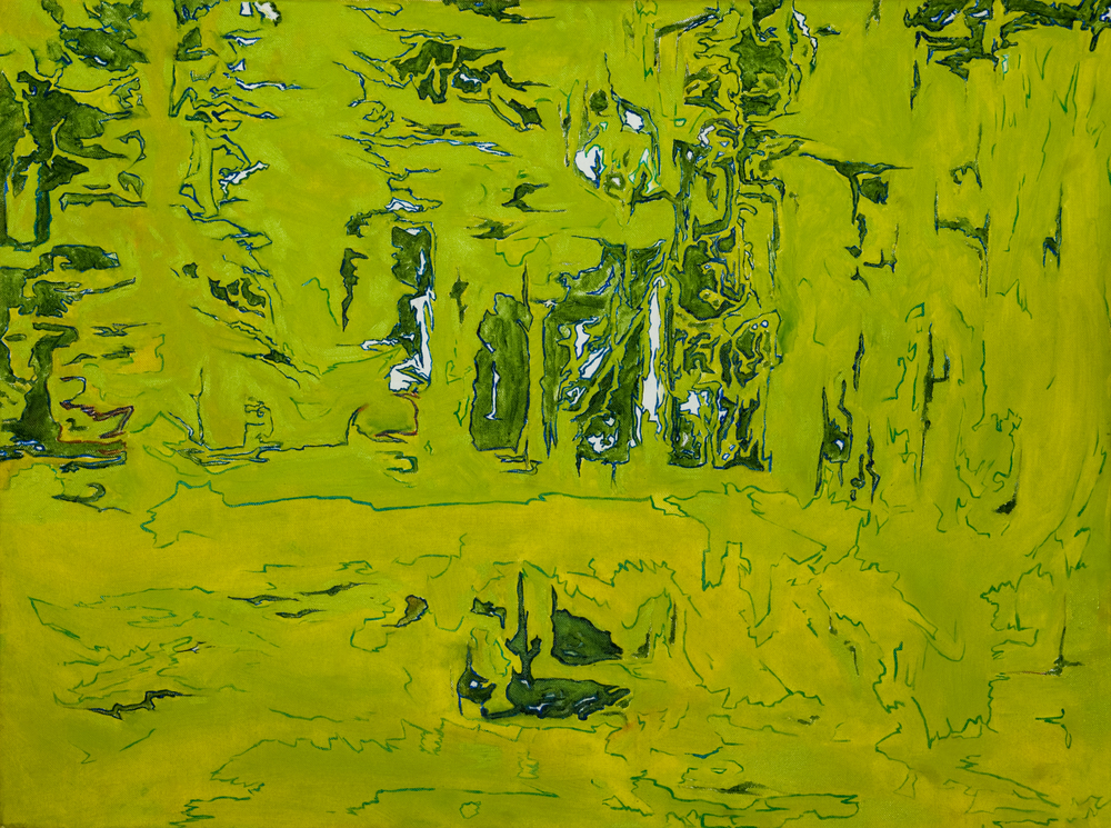 """Greenscape, Oil on canvas, 31.5"""" x 23.6""""     Semi abstract of a forest in Sheffield. Part of my '...Scapes' series. Framed."""