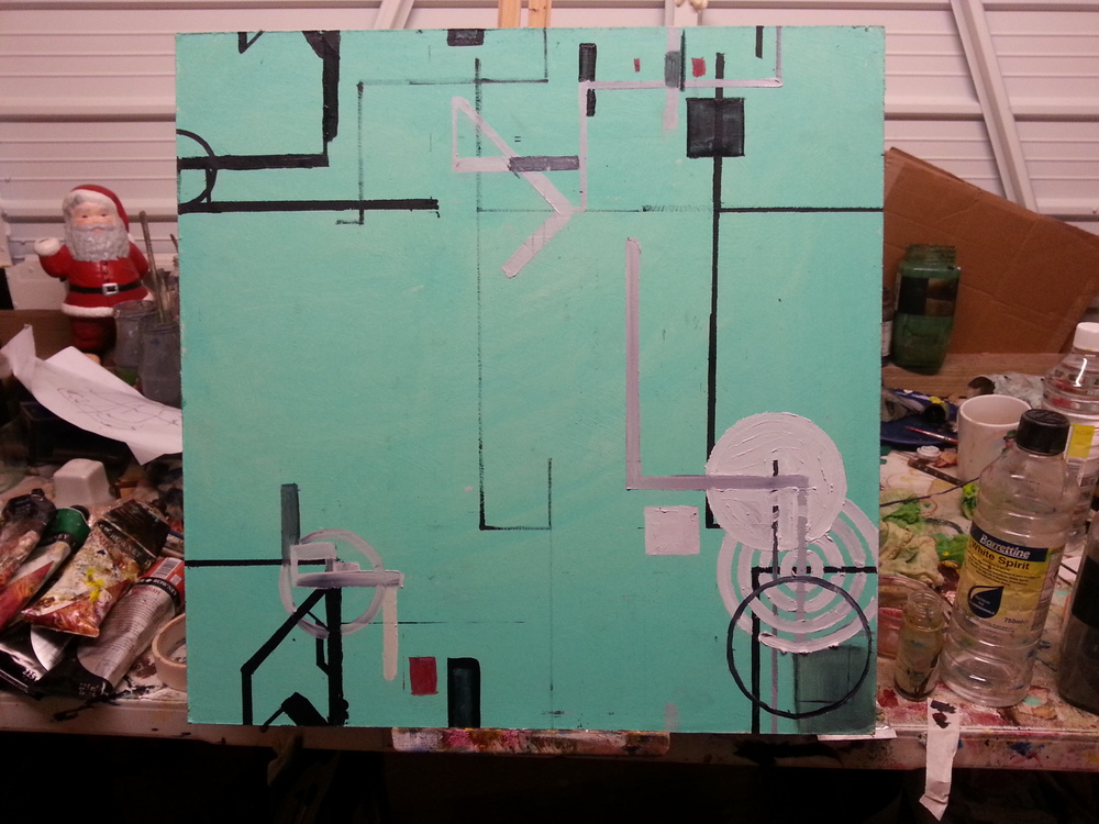 """Procedural Painting V3.1.2 20"""" x 20"""" Oil on Board. WIP"""