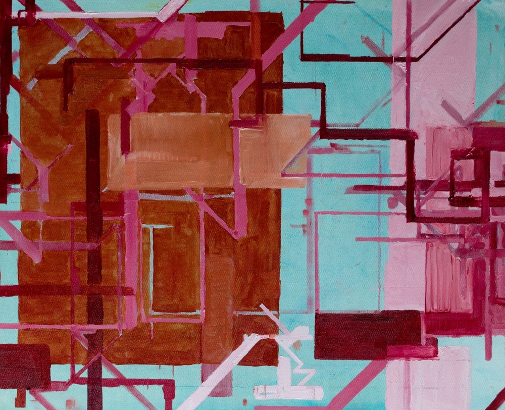 """Procedural Painting V2.0.3, 22"""" x 18"""", Oil on canvas. 2014"""