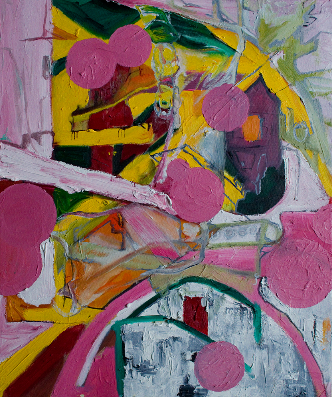 Piranesi's Pink Dotted Gateway , Oil on Canvas, 80cm x 60cm.