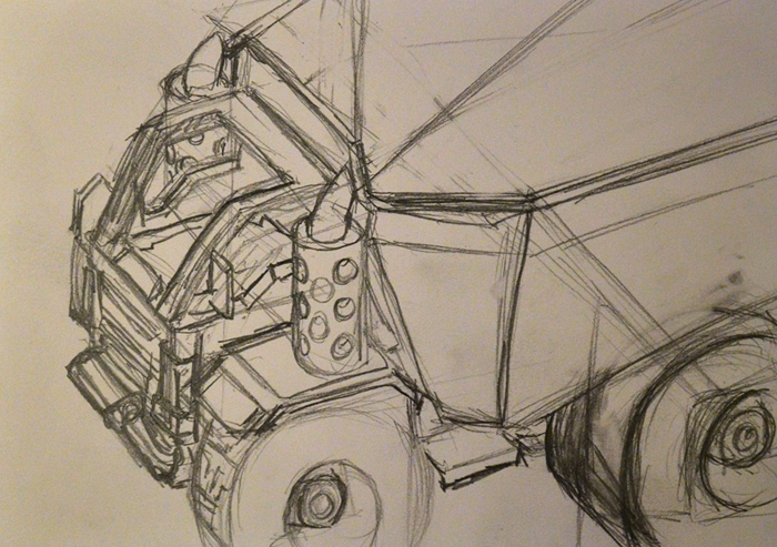 """Toy Truck 1, 8""""x 6"""", pencil on paper."""