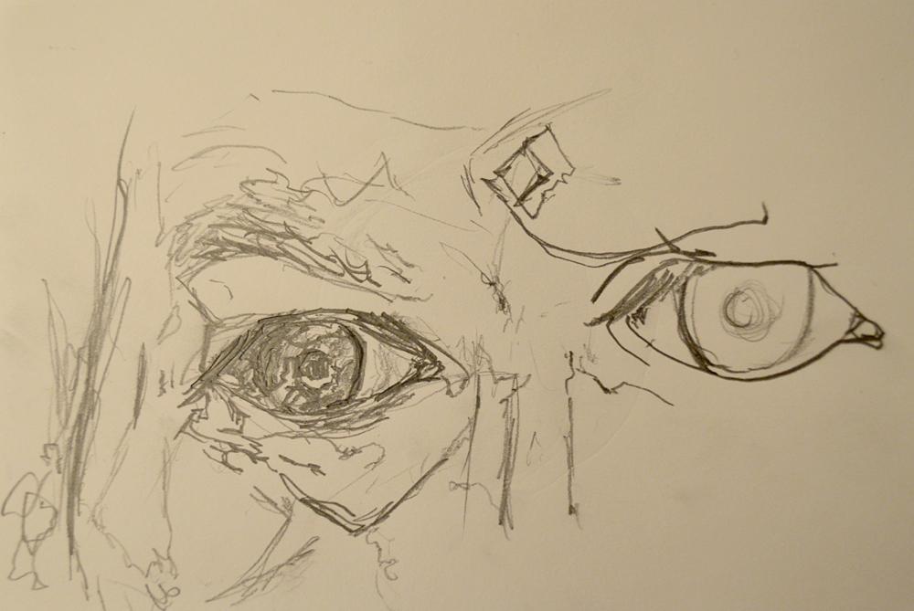 "Eye, 6"" x 8"", pencil on paper"