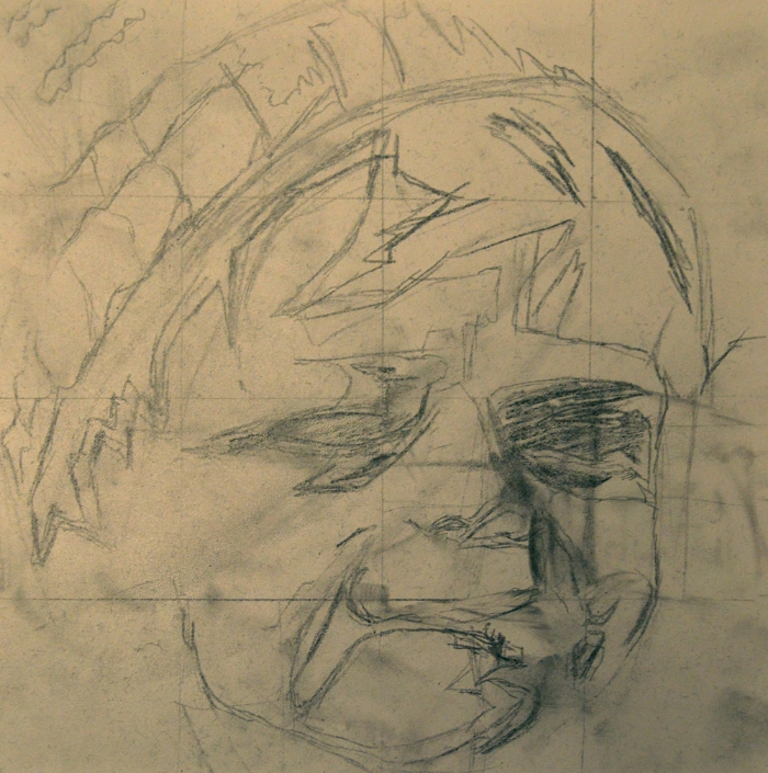 "L zombie, 9"" x 9"", pencil sketch"
