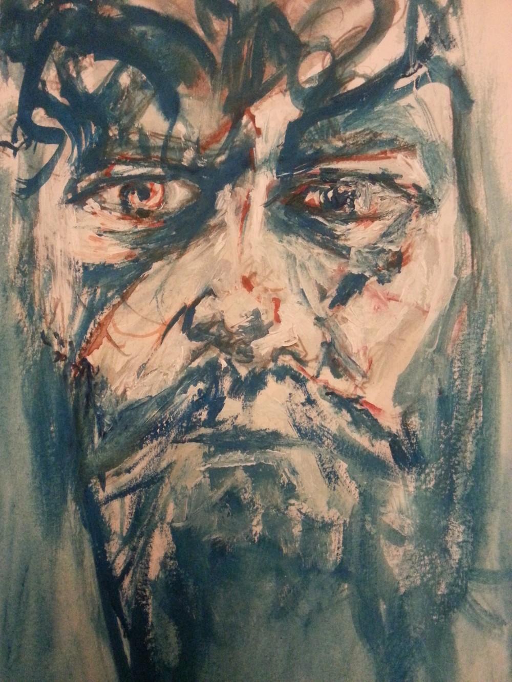 "1hr elfy selfie. 10"" x 7"" , watercolour, acrylic and gouache on watercolour paper."