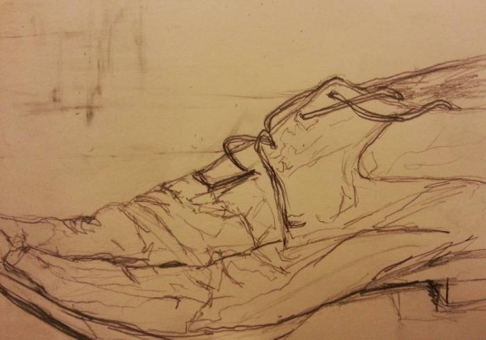 "Shoe 1, 9"" x 6"", pencil on paper."