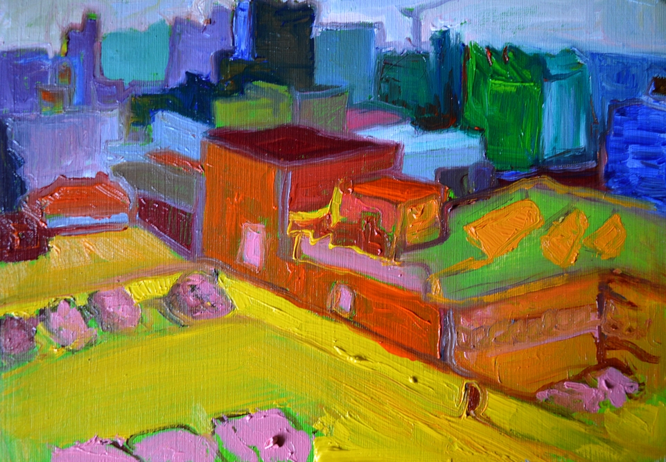 """Sheffield in colour, 10"""" x 7"""", Oil on oil painting paper."""