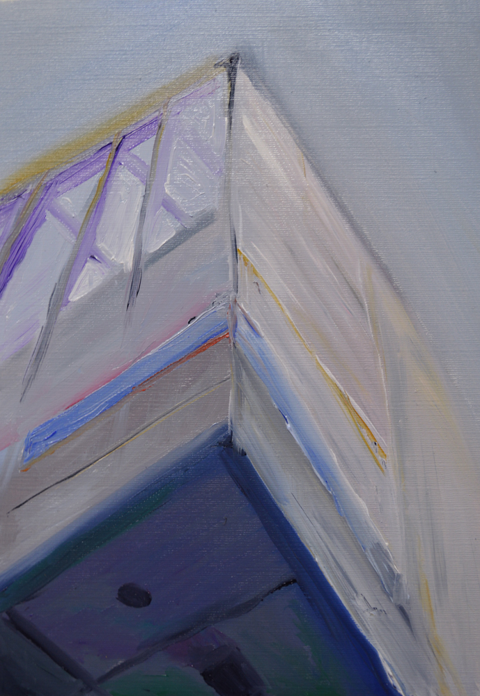 "Artspace Overhang, oil on canvas paper, 10"" x 7"""