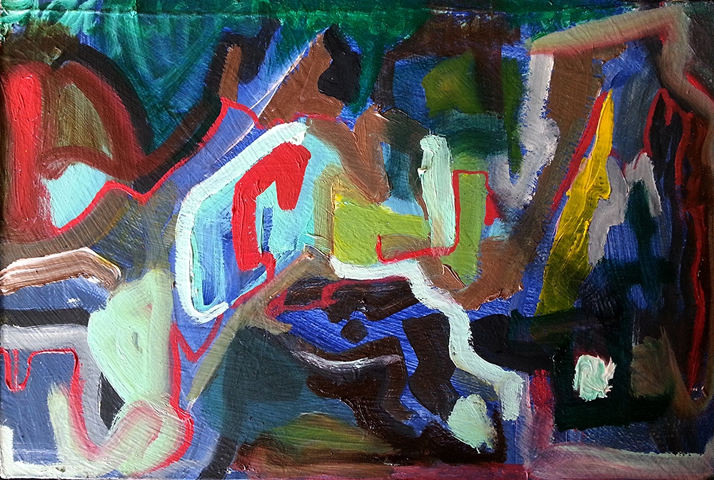 "Broken Code? 9"" x6"" oil on triple primed board"