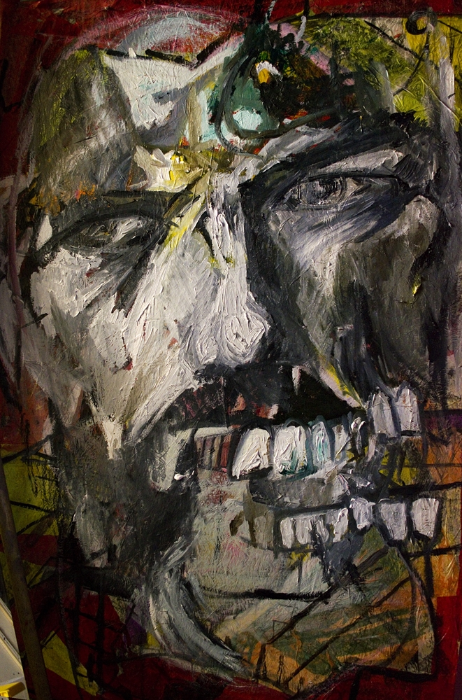 Self with teeth, oil and mixed media on board, 7' x 5'