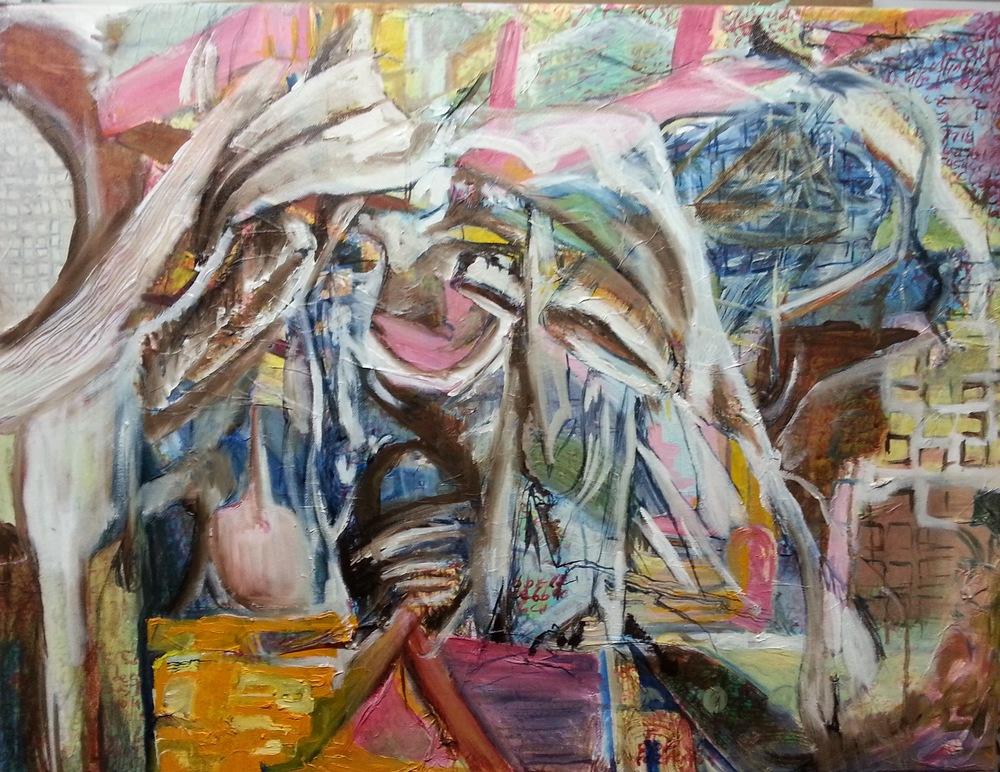 Throatwell, oil on canvas, rework in progress.
