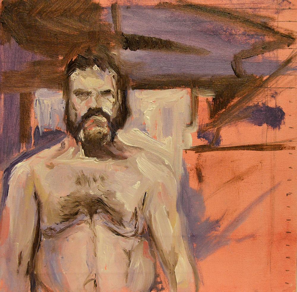 Self life study, 23cm x 23 cm, oil on canvas.