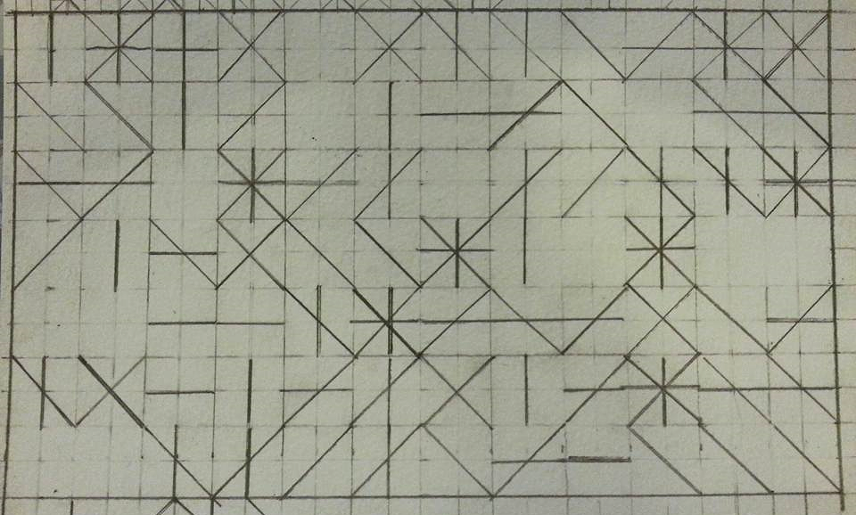 """D12 generated pattern, Pencil on watercolour paper, 10"""" x 7"""""""