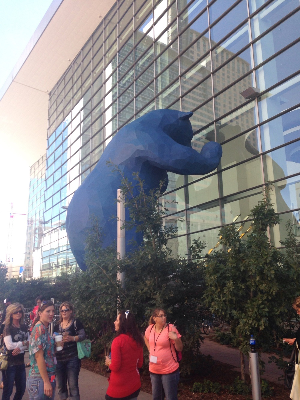 The very large bear looking into the convention center