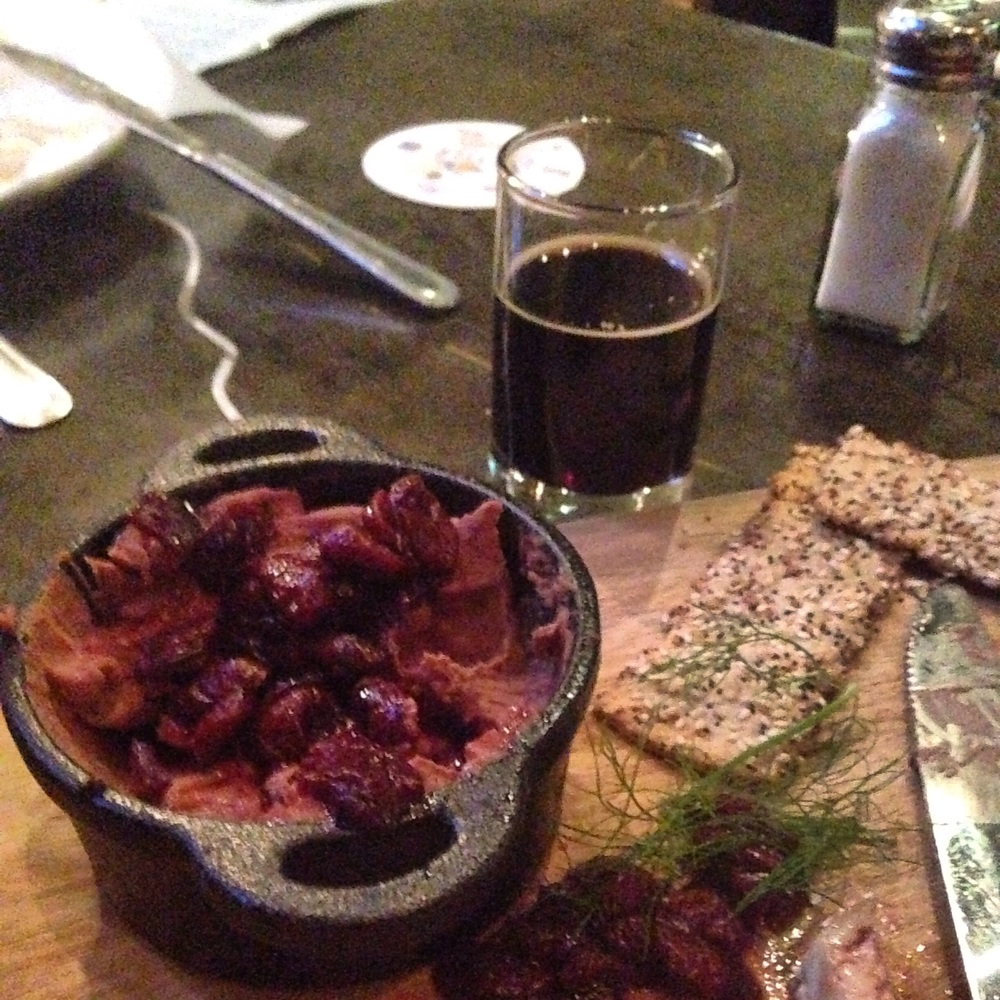 Things got wierd one night. Chicken liver and cranberry spread paired with Rocky Mountain Oyster Stout at Wynkoop Brew (yes, it's made with Rocky Mountain oysters)