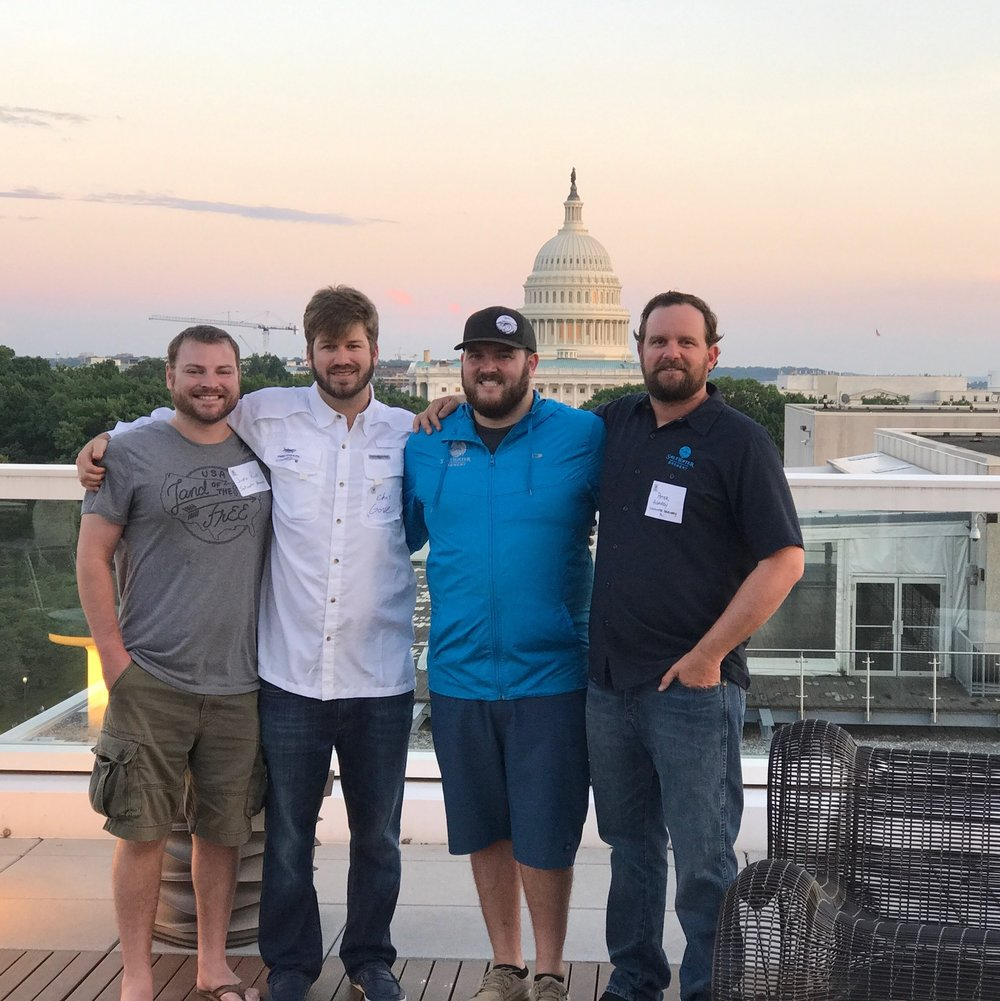 From left to right: Justin Rick (Head of Brewing), Chris Gove (President & Co-Founder), Dustin Jeffers (Head of Operations & Co-Founder), Peter Agardy (Head of Branding & Co-Founder)