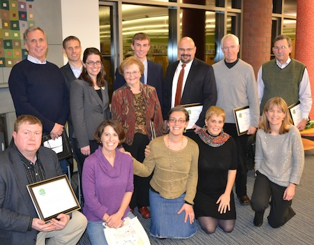 Group photo of 2012 SP Leadership Award winners at library ceremony