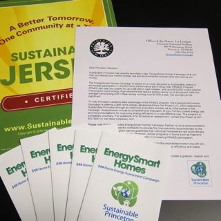 Table top display showing Mayors letter and brochures about the EnergySmart Homes campaign.