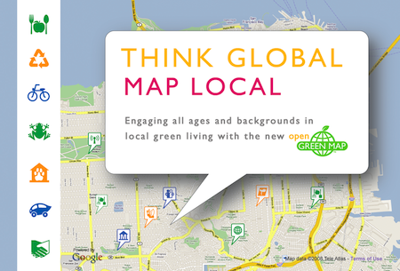 "Green Map slogan ""Think Global, Map Local"" shown as a pop up bubble from a google map base"