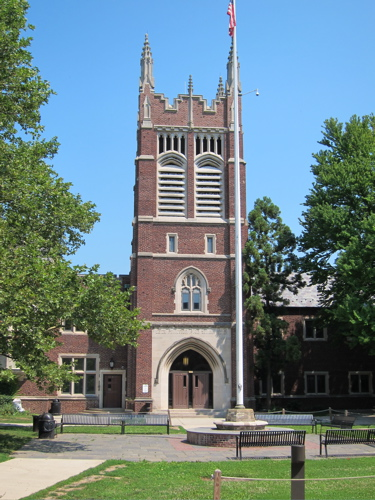 Brick entrance tower at front of Princeton high school