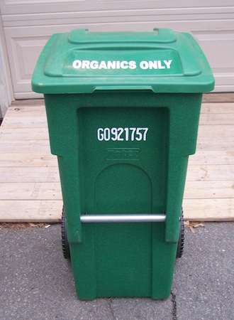 bright green wheeled trash cart for food waste