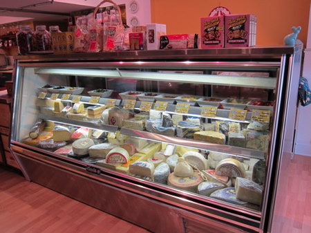 Cheese display case at Olsson's Fine Foods.