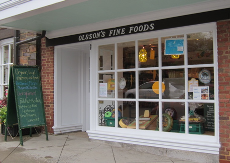 Front window of Olsson's Fine Foods shop