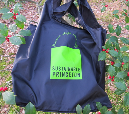black fabric bag printed with green shopping bag image hanging in a holly tree