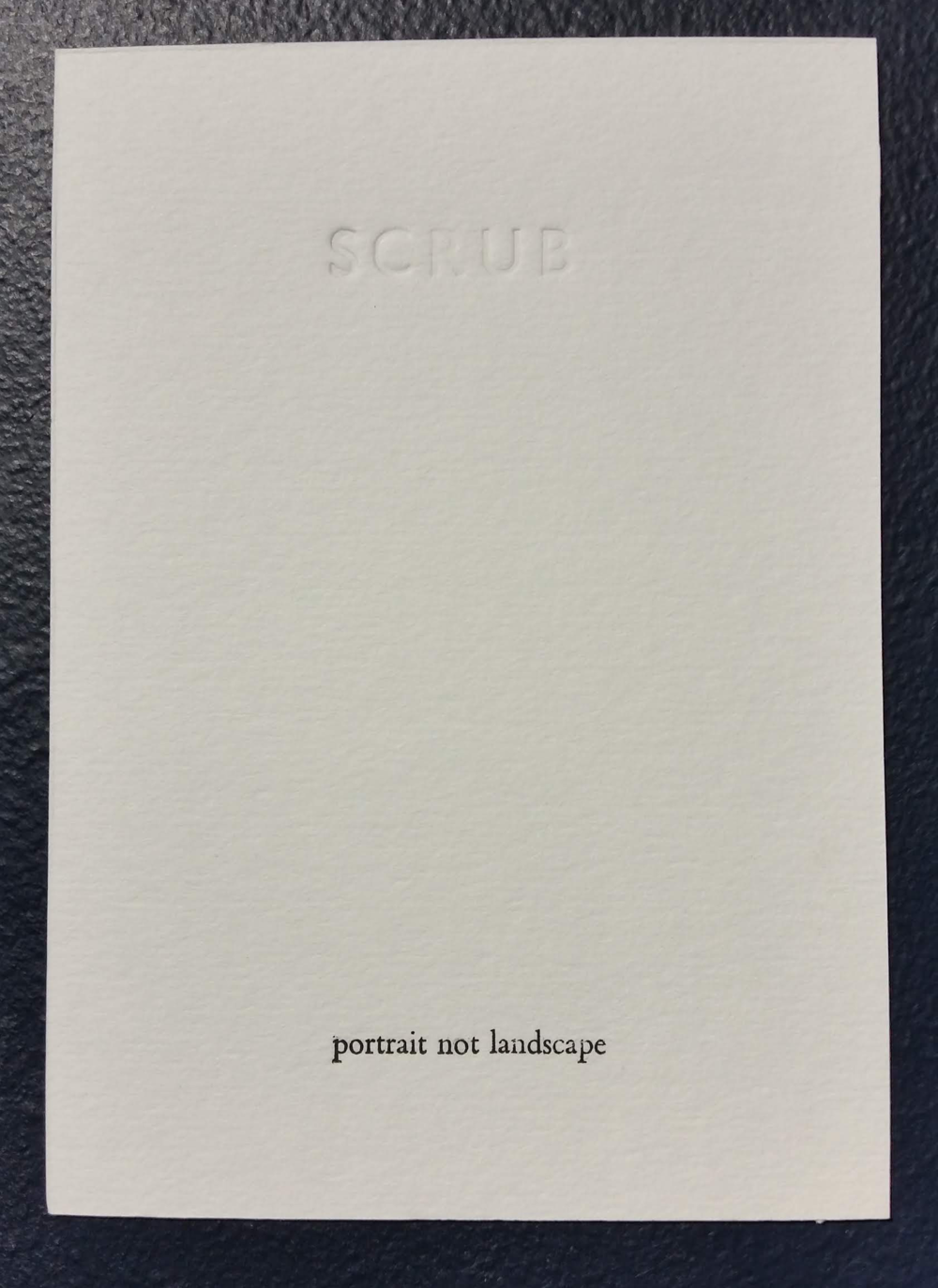 SCRUB poem cards (2018) by Caroline Harris