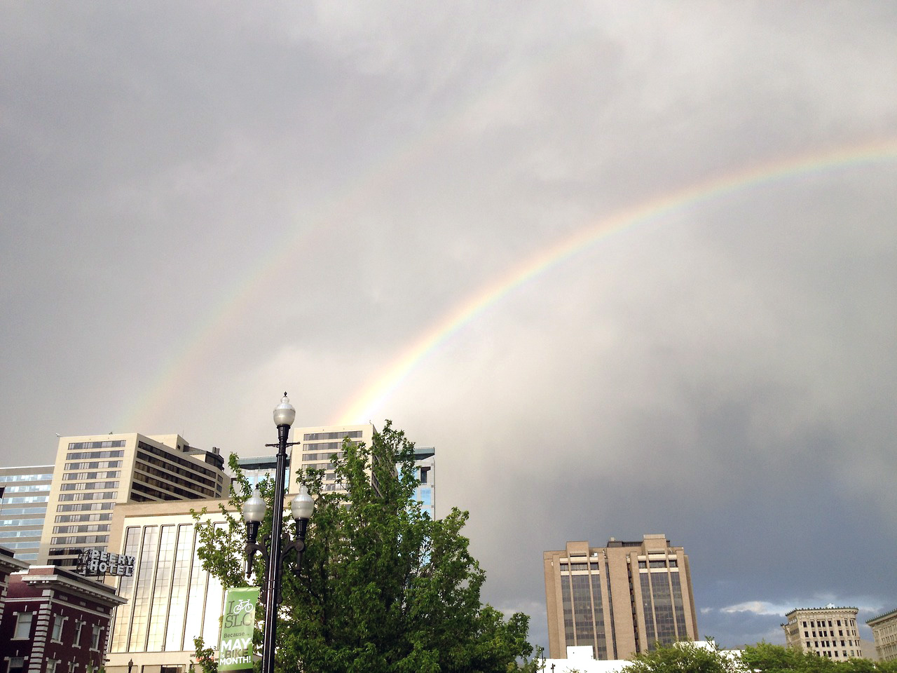Spotted during  Venafi  site visit in SLC: Twin towers, double rainbow.