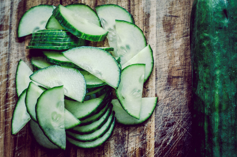 sliced cucumber