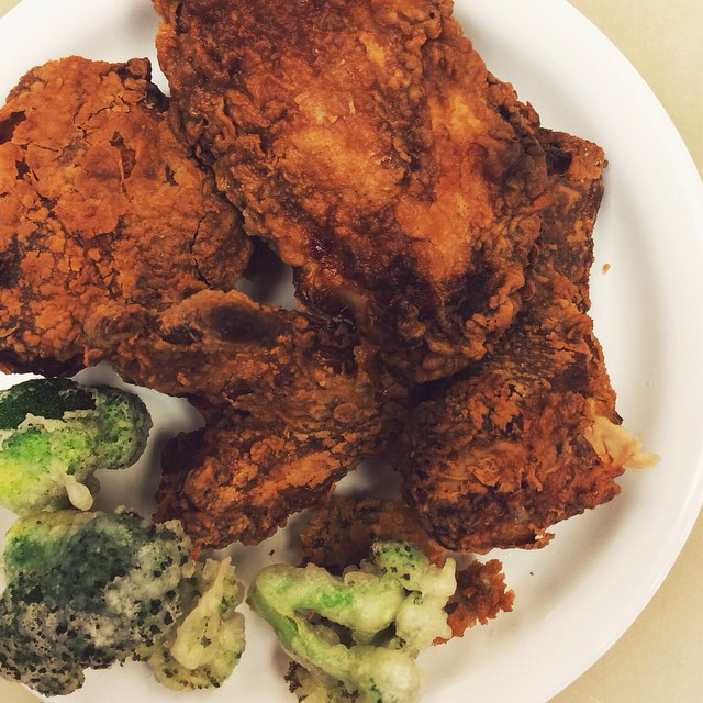 deep-fry day: southern buttermilk chicken, broccoli tempura.