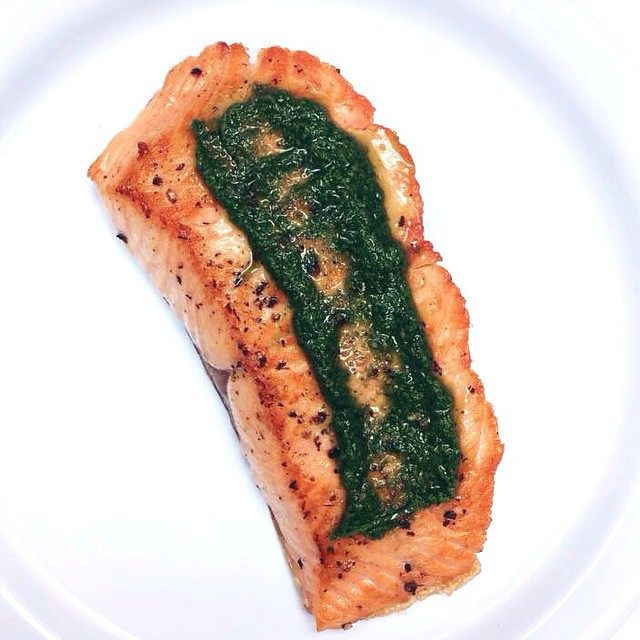 sauteed tranche of salmon with chimichurri
