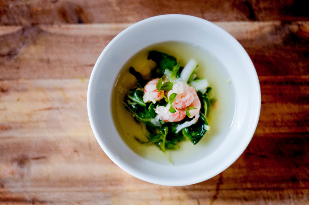 seafood consomme with langoustine