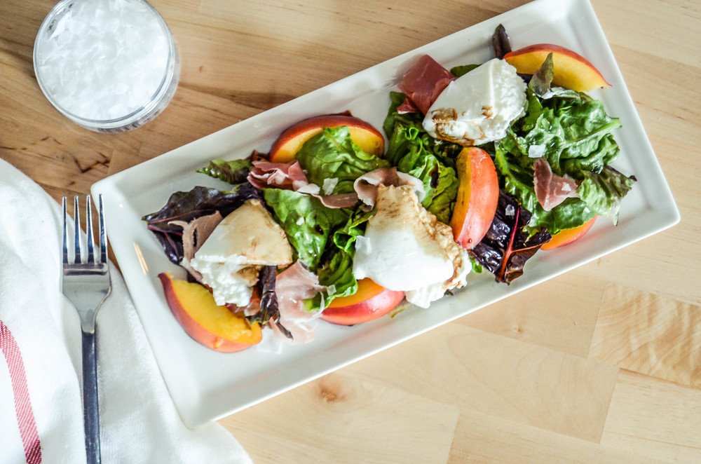 nectarine + burrata salad with proscuitto