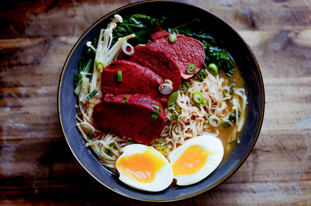 ramen with char siu and poached egg