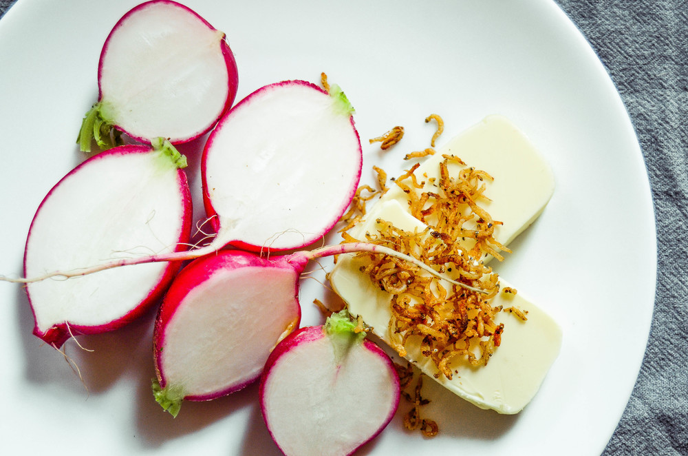 radishes with french butter and fried anchovies