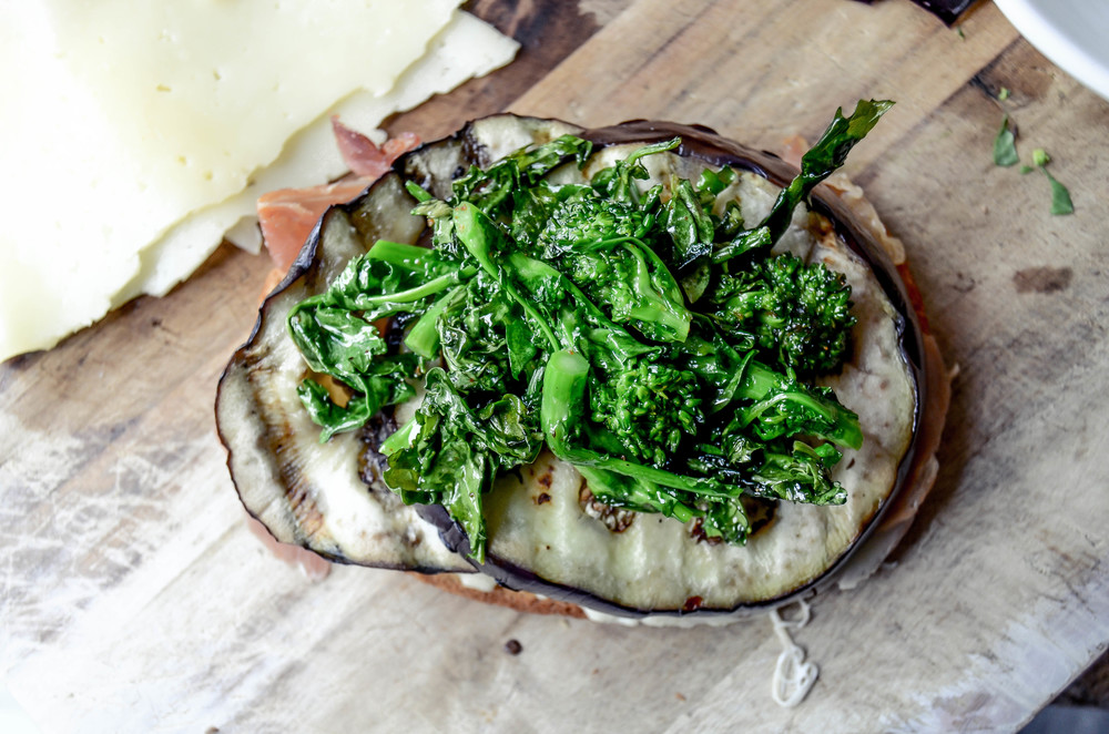 grilled eggplant + broccoli rabe sandwich