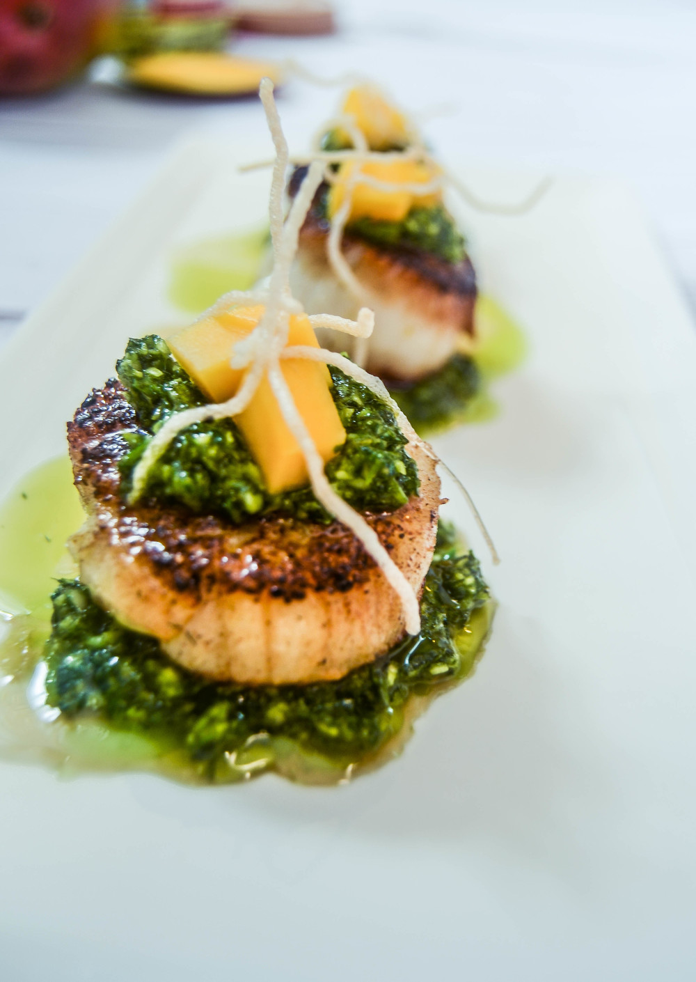seared scallops with chimichurri
